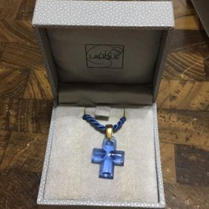 LALIQUE BLUE CRYSTAL CROSS PENDANT
